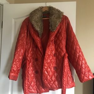 Jackets & Blazers - Orange lightweight coat with faux fur collar